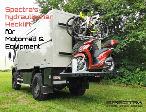 Spectra´s hydraulischer Hecklift für Motorrad, Fahrräder und Equipment